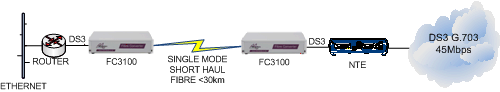 FC3100: DS3 Router to NTE extension over singlemode fibre