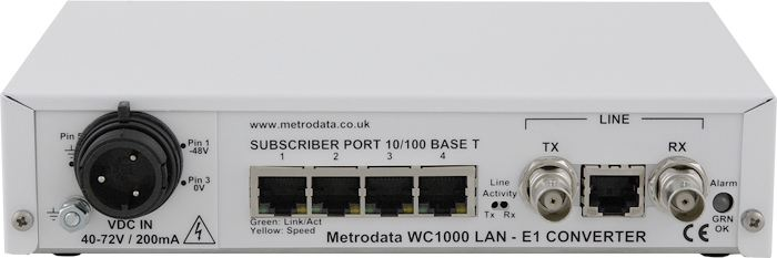 WC1000 DC rear: Ethernet over E1 2Mbps G.703
