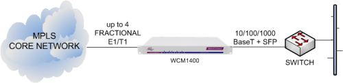 WCM1400 delivering Ethernet services from an MPLS core network