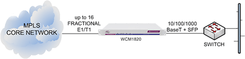 WCM1820 delivering Ethernet Extension services from an MPLS core network